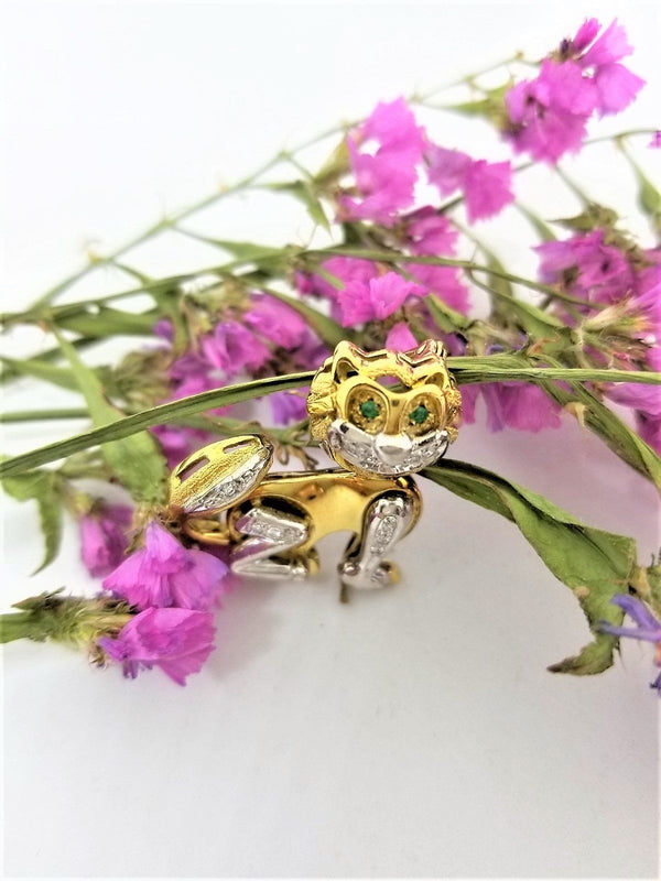 Yellow Gold Cat Brooch with Diamonds - Cape Diamond Exchange
