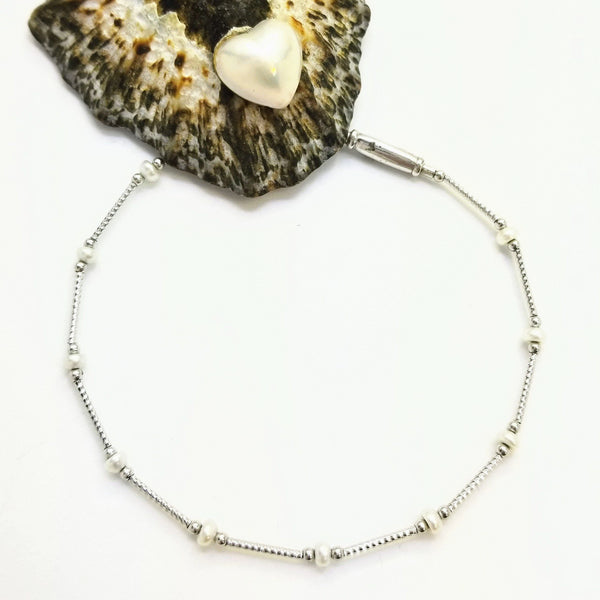 White Gold Tube Bracelet with Pearl Beads - Cape Diamond Exchange