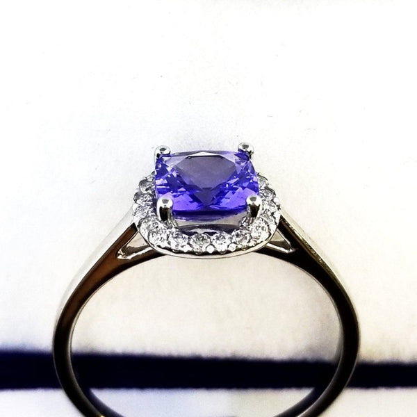 9 kt White Gold Tanzanite Halo Ring with Diamonds - Cape Diamond Exchange