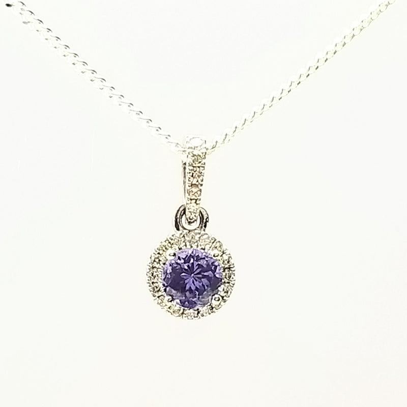 9 kt White Gold Tanzanite and Diamonds Halo Pendant - Cape Diamond Exchange