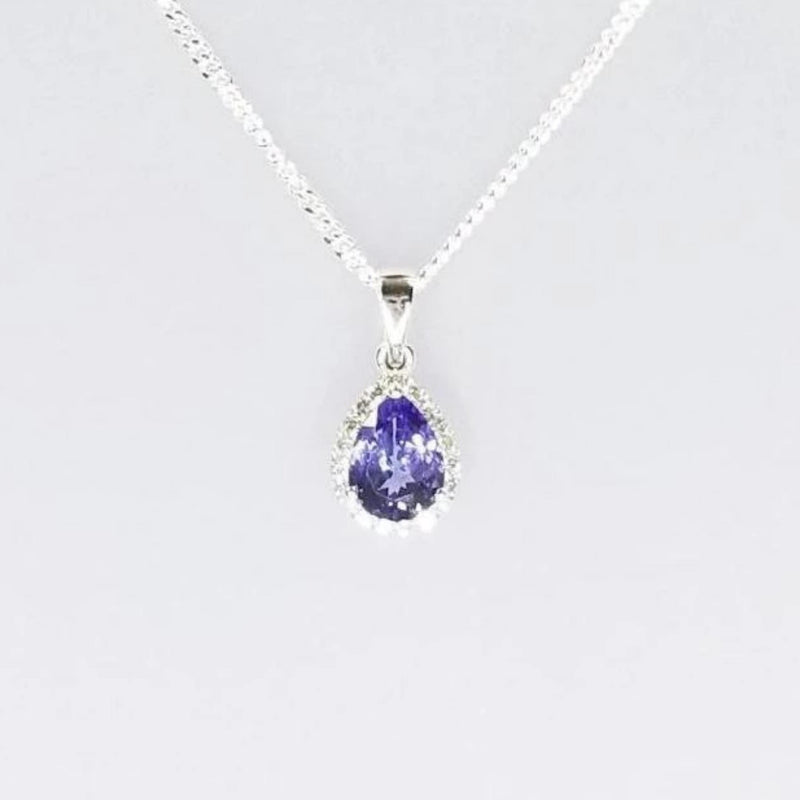 14 kt White Gold Pear Shape Tanzanite and Diamonds Pendant - Cape Diamond Exchange
