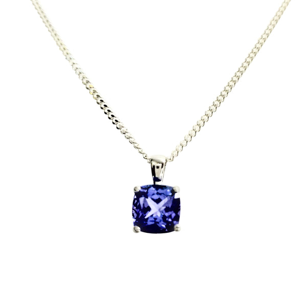 9 kt White Gold Cushion cut Tanzanite Stone pendant - Cape Diamond Exchange