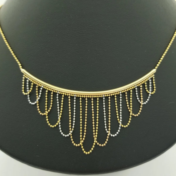 Two Toned Delicate Necklace in Yellow Gold
