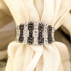 9kt White Gold Ring with Black and White Diamonds - Cape Diamond Exchange