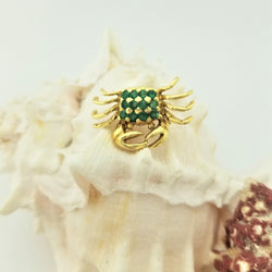 18 kt Yellow Gold Crab Brooch with Emeralds - Cape Diamond Exchange