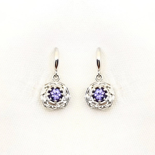 White Gold and Tanzanite Dangling Earrings