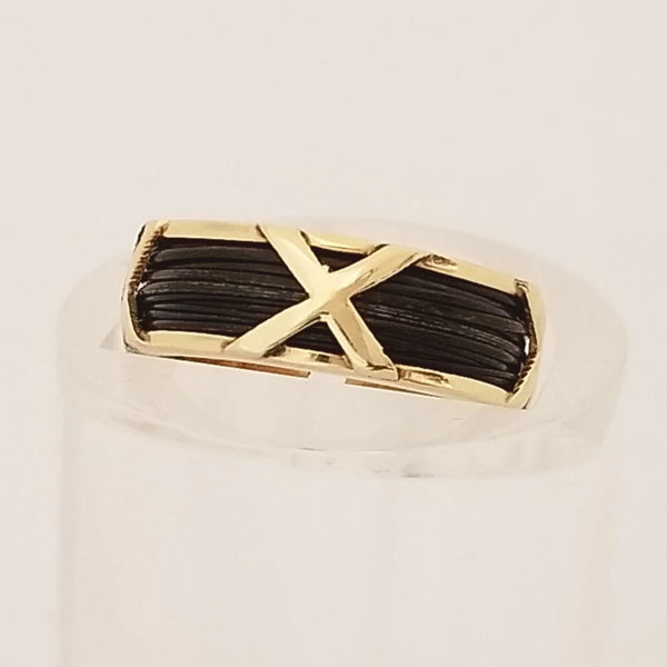 Yellow Gold X Ring with Elephant Hair - Cape Diamond Exchange