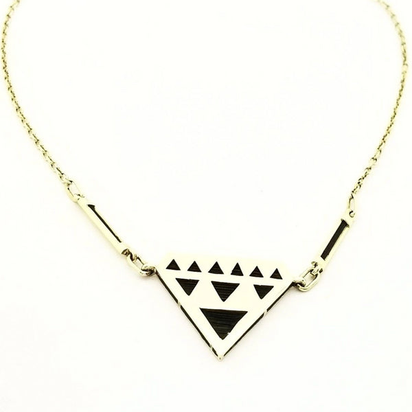 Triangle Gold Necklace with Elephant Hair