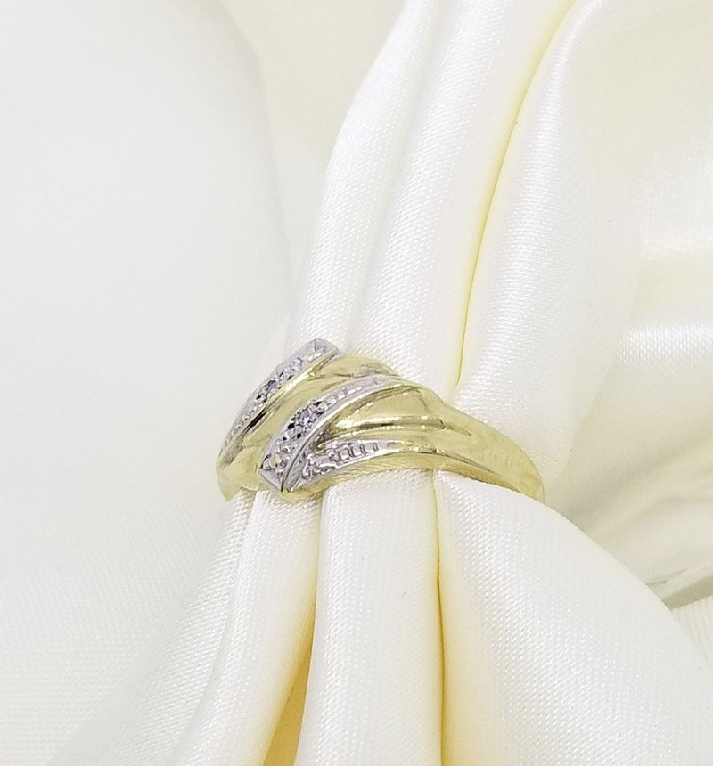 Yellow Gold Double V-Designed Diamond Ring - Cape Diamond Exchange