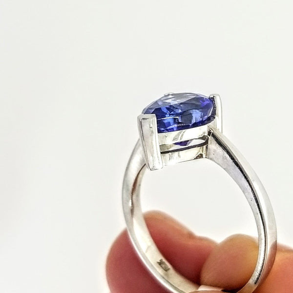 White Gold Pear Shaped Tanzanite Ring - Cape Diamond Exchange