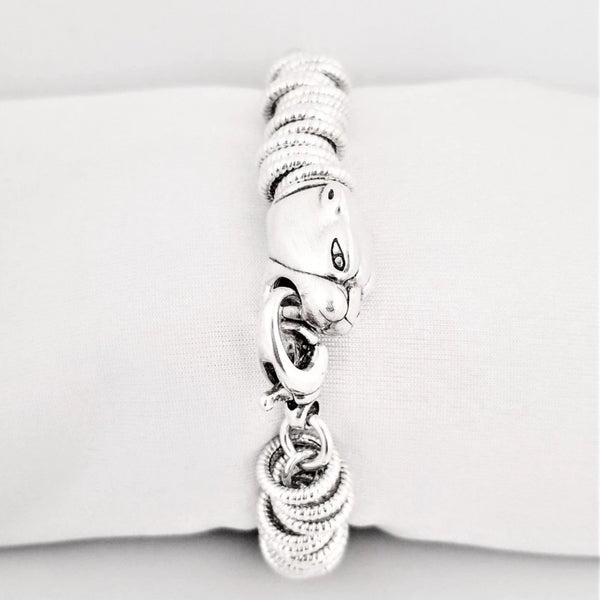 Silver Circled Shaped link Bracelet with Tiger's Head