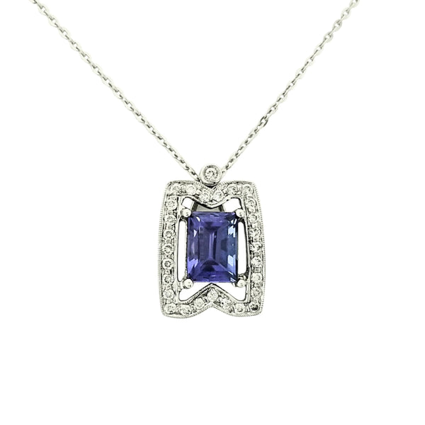 18kt White Gold Square Tanzanite Pendant with Diamonds - Cape Diamond Exchange