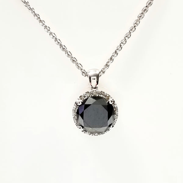 Black Diamond Halo Pendant - Cape Diamond Exchange