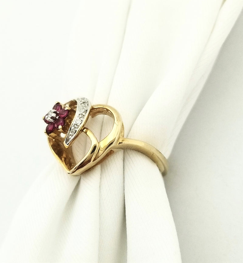 Heart Shaped Diamond Ring with a Ruby Flower - Cape Diamond Exchange