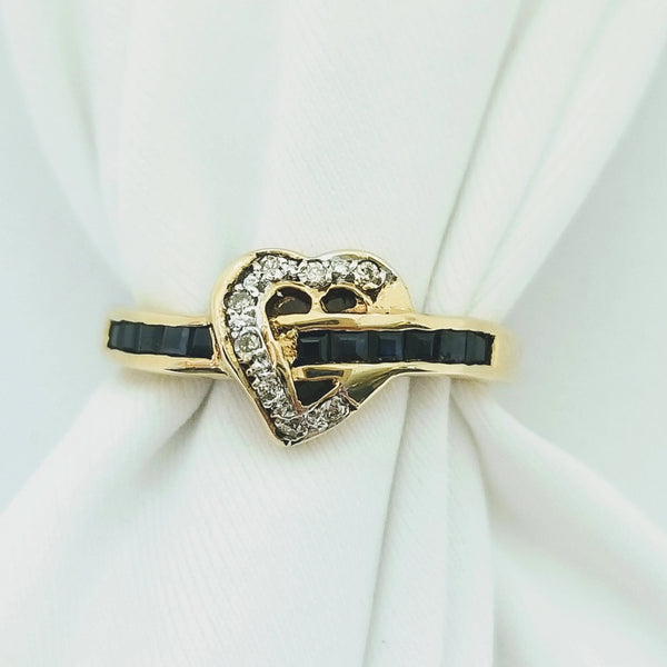 Heart Shape Sapphire and Diamond Ring - Cape Diamond Exchange