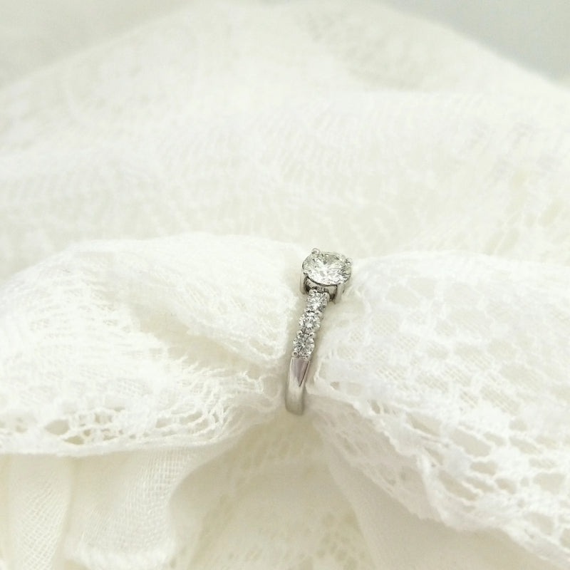 Engagement Ring with Center Diamond & Side Diamonds - Cape Diamond Exchange