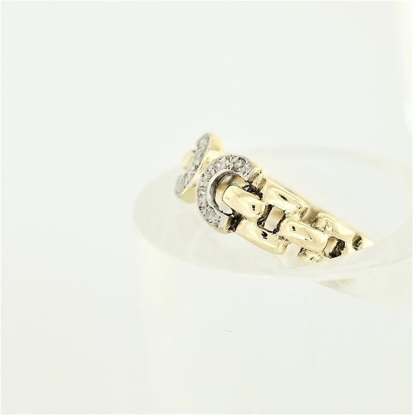 9 kt Yellow Gold  Diamond Ring with Two Semi-Circles - Cape Diamond Exchange