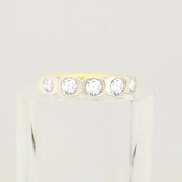 Yellow Gold Ring with Cubic Zircon (Half Eternity style)
