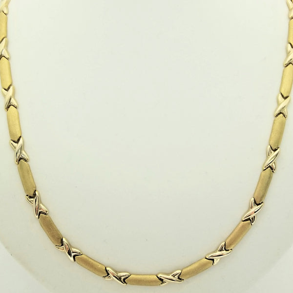 9kt Yellow Gold Cross Over Necklace - Cape Diamond Exchange