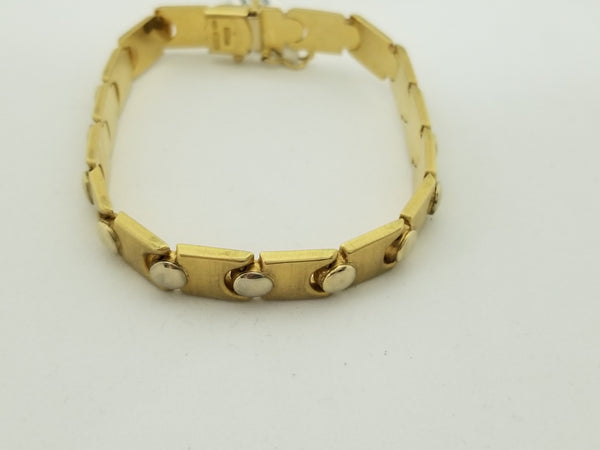 18kt Yellow Gold Two Tone Matt and Shiny Bracelet - Cape Diamond Exchange