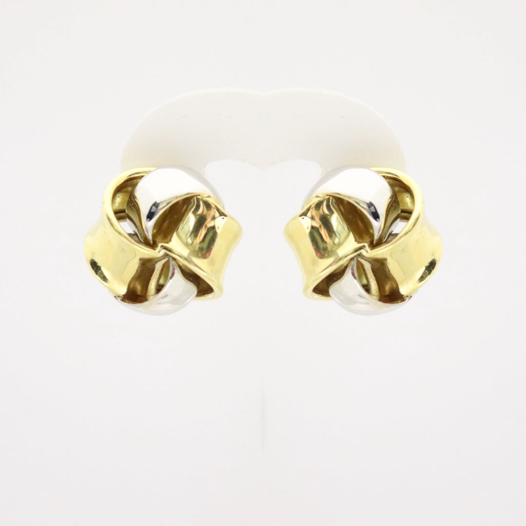 18kt Gold Two Color Knot Pin/Clip Earrings