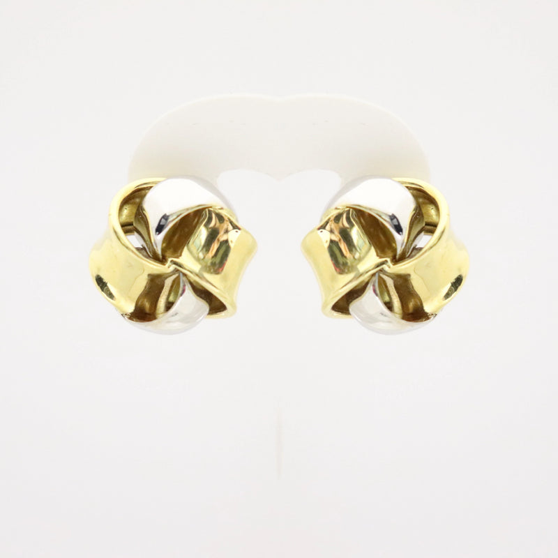 18kt Two Color Gold Knot Pin/Clip Earrings - Cape Diamond Exchange