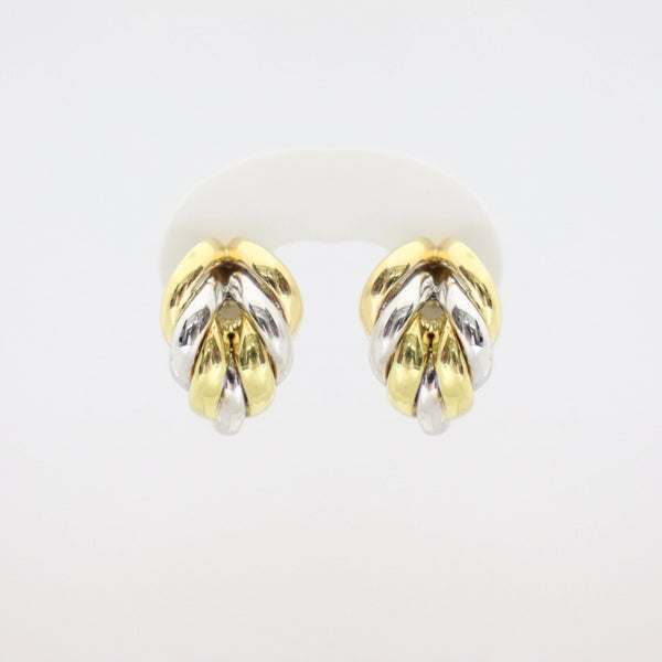 18kt Gold White Gold and Yellow Gold Pin/Clip Earrings