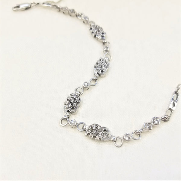 9 kt White Gold and Cubic Zircon Elephant Bracelet - Cape Diamond Exchange