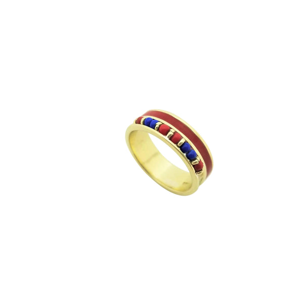 14 kt Yellow Gold Red and Blue Beaded Ring
