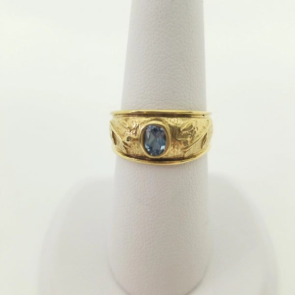 9 kt Yellow Gold Aquamarine Ring - Cape Diamond Exchange