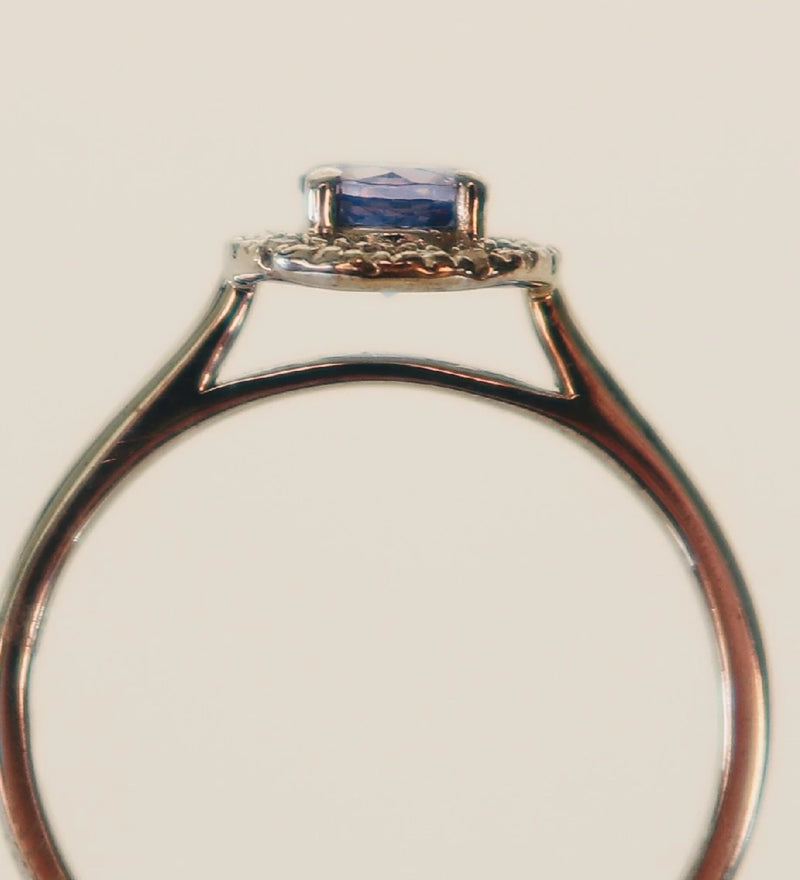 9kt White Gold Tanzanite and Diamond Halo Ring - Cape Diamond Exchange