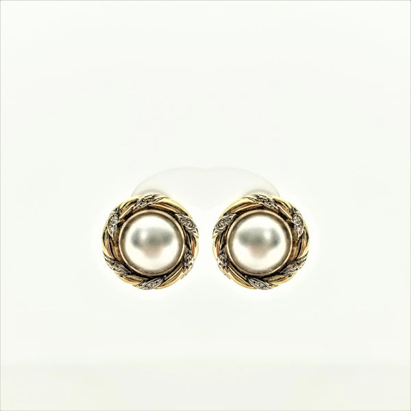 Mabe Pearl And Diamond Earrings - Cape Diamond Exchange