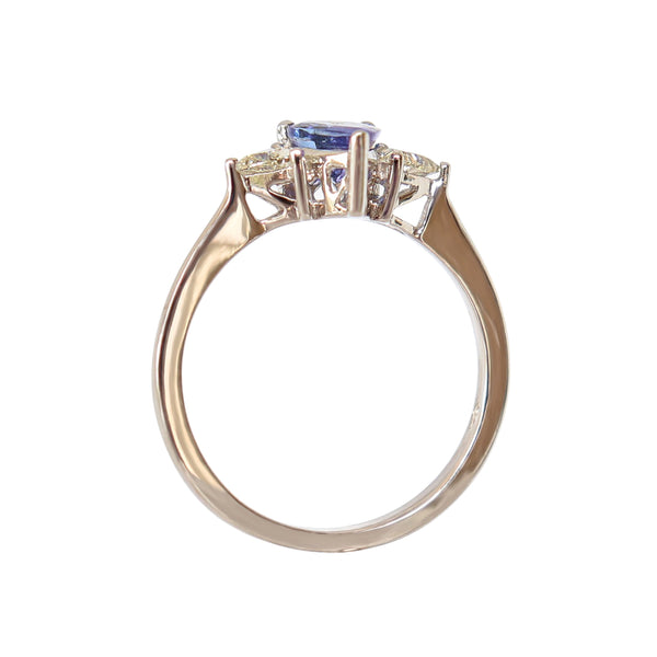Pear Tanzanite and Trillion Diamond Trilogy Ring
