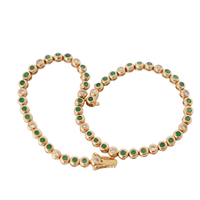 Yellow Gold Tennis Bracelet with Diamonds and Emeralds - Cape Diamond Exchange