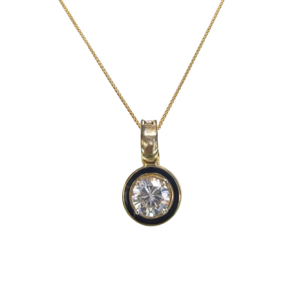9 kt Yellow Gold pendant with a Cubic Zirconia