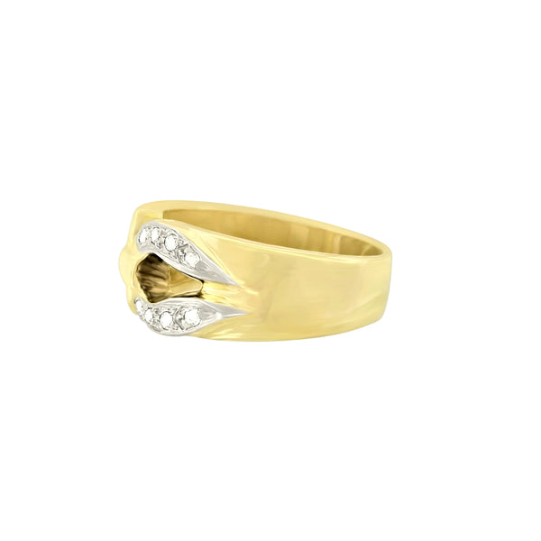 9 kt Yellow Gold Cubic Zircon Horseshoe Dress Ring - Cape Diamond Exchange