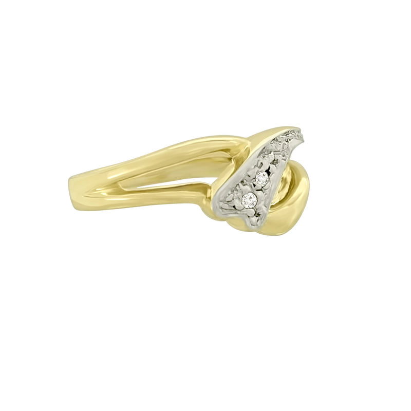 9 kt Yellow Gold Cubic Zircon Ring Dainty Design - Cape Diamond Exchange