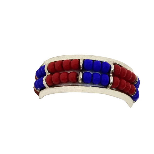 Silver African Blue and Red Beaded Ring