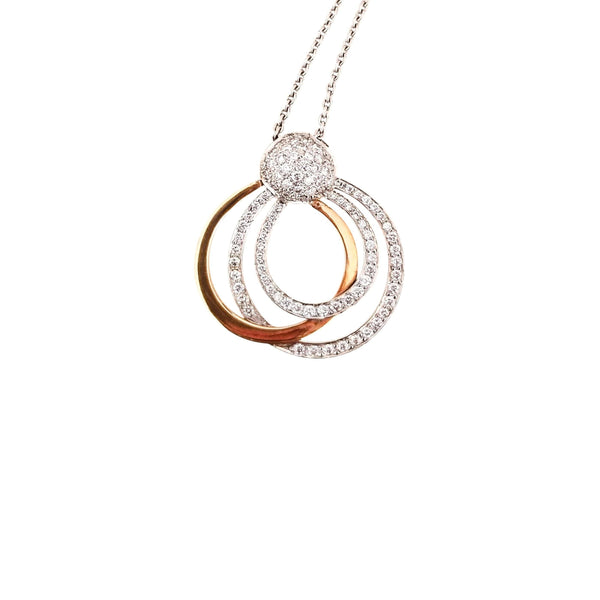 18 kt White and Yellow Gold pendant with Diamonds - Cape Diamond Exchange