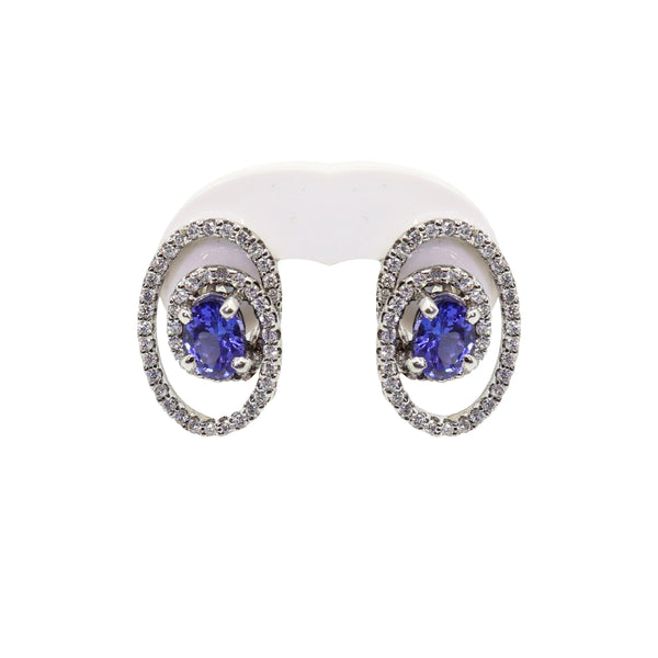 Oval Tanzanite with Diamond twirl Earrings