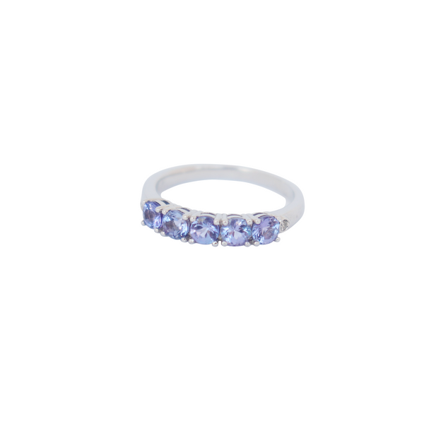 9 kt White Gold and Tanzanite Half Eternity Ring - Cape Diamond Exchange