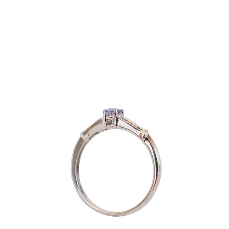Oval Tanzanite and Baguette Diamond Ring in White Gold - Cape Diamond Exchange