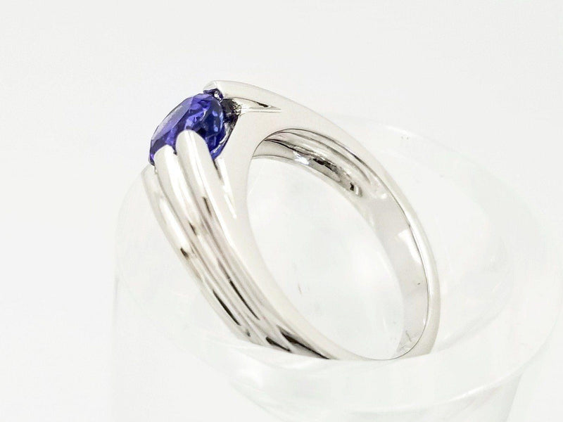 18 kt White Gold Men's ring with a Tanzanite Stone - Cape Diamond Exchange