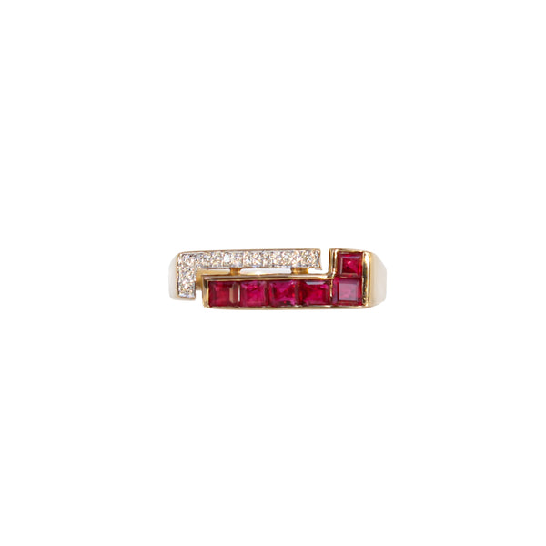 Square Ruby and Diamond Ring - Cape Diamond Exchange