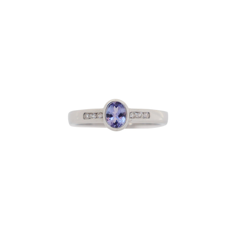White Gold Oval Tanzanite and Diamond Ring - cape diamond exchange