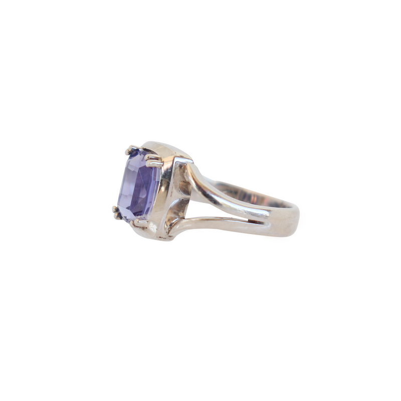 Split-band Ring with a Cushion Tanzanite - Cape Diamond Exchange