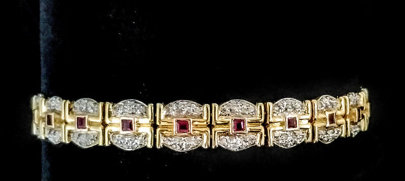 18 kt Yellow Gold Bracelet with Diamonds and Rubies - Cape Diamond Exchange