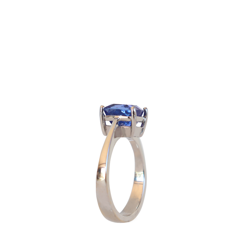 Knife Edge Cushion Tanzanite Solitaire Ring - Cape Diamond Exchange