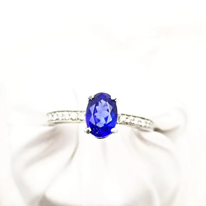 18 kt White Gold Oval Tanzanite and Diamond Ring - Cape Diamond Exchange