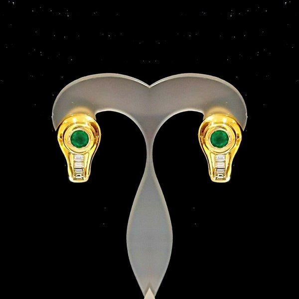 18 kt Yellow Gold Emerald and Diamond Earrings - Cape Diamond Exchange